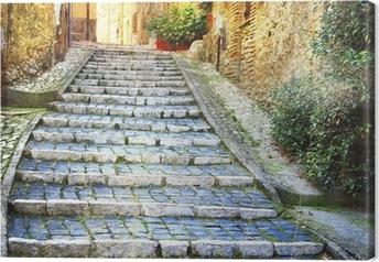 Tableau sur toile Charmantes vieilles rues de villages médiévaux de l'Italie