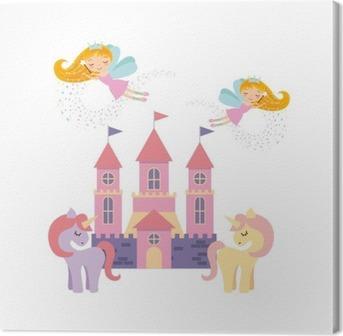 Tableau sur toile Château fantastique conception d'illustration de vecteur rose mignon