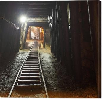 Tableau sur toile Chemin de fer des mines en underground.