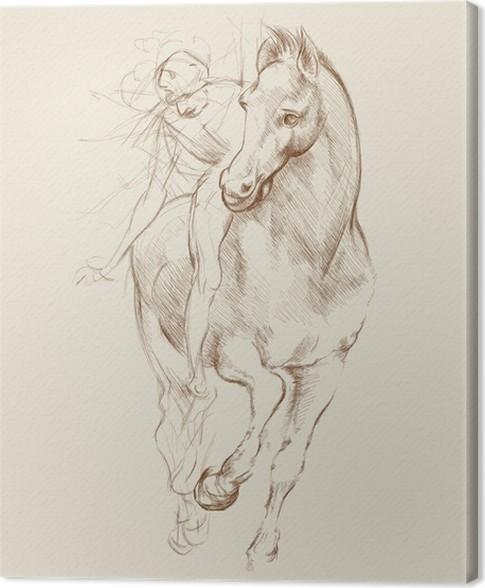 Tableau sur toile cheval et cavalier bas sur le dessin - Dessin de leonard de vinci ...