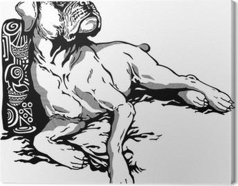 Tableau sur toile Chien boxer blanc noir