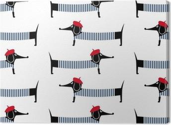 Tableau sur toile Chien de style français seamless. Cute cartoon teckel parisien illustration vectorielle. Dessin d'enfant chiot de style d'arrière-plan. style français chien habillé avec béret rouge et robe rayée.