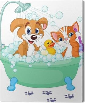 Tableau sur Toile Chien et chat prenant un bain