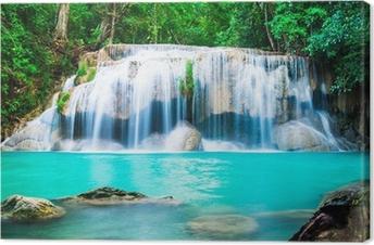 Tableau sur toile Chute d'eau dans la jungle à la province de Kanchanaburi, Thaïlande