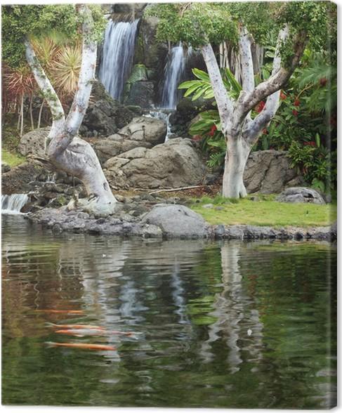 tableau sur toile chute d 39 eau et un tang de koi dans le jardin japonais pixers nous vivons. Black Bedroom Furniture Sets. Home Design Ideas
