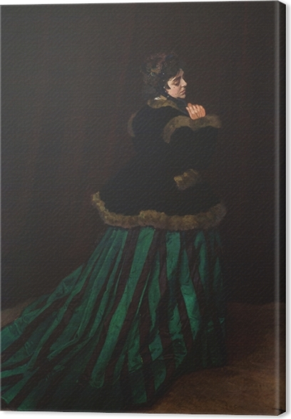 Tableau sur toile Claude Monet - La Femme en robe verte - Reproductions