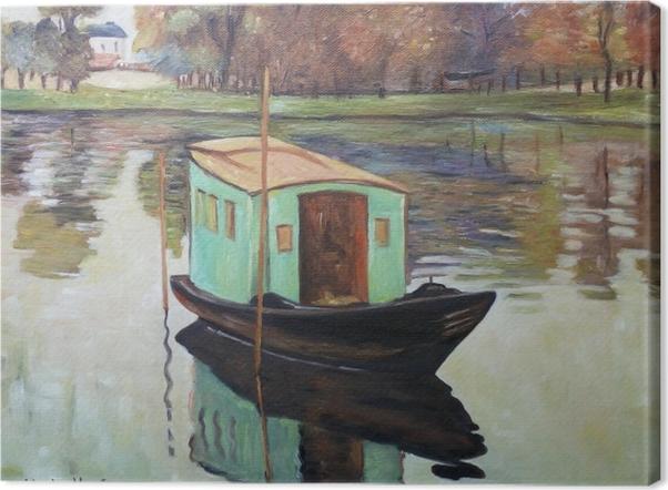 Tableau sur toile Claude Monet - Le Bateau-atelier - Reproductions