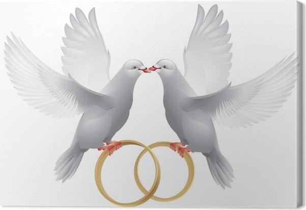 tableau sur toile colombes blanches de mariage avec des anneaux pixers nous vivons pour changer. Black Bedroom Furniture Sets. Home Design Ideas