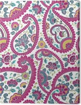 Tableau sur toile Coloré motif paisley floral, textile, Rajasthan, Inde