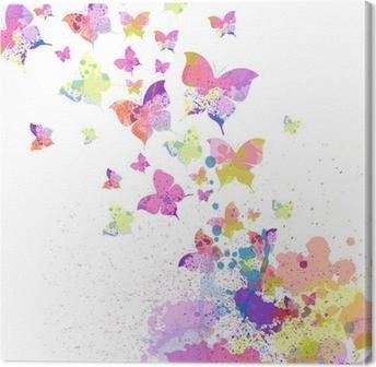 Tableau sur Toile Coloré vecteur de fond abstrait avec des papillons