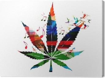 Tableau sur toile Colorful vecteur feuille de cannabis avec colibris fond