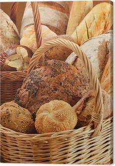 Tableau sur toile Composition avec du pain et des petits pains dans des paniers en osier