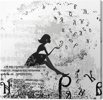 Tableau sur Toile Conception abstraite avec un texte grunge fille