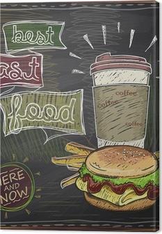 Tableau sur toile Conception tableau avec hamburger, frites et du café.