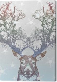 Tableau sur toile Corne Frozen arbre cerf