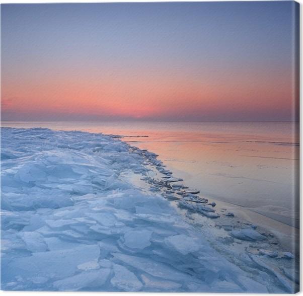 tableau sur toile coucher de soleil color la neige bord de la mer baltique pixers nous. Black Bedroom Furniture Sets. Home Design Ideas