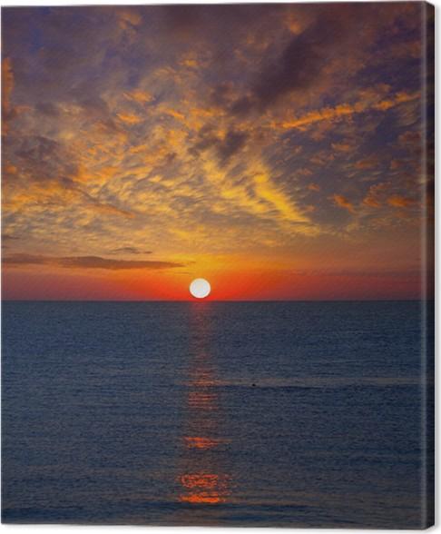 tableau sur toile coucher de soleil sur la mer m diterran e avec le ciel orange pixers nous. Black Bedroom Furniture Sets. Home Design Ideas