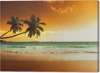 Tableau sur toile Coucher de soleil sur la plage de la mer des Caraïbes