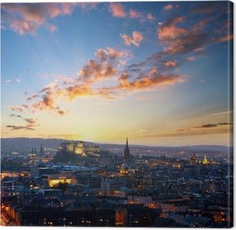 Tableau sur toile Coucher de soleil vue d'Edimbourg, Royaume-Uni