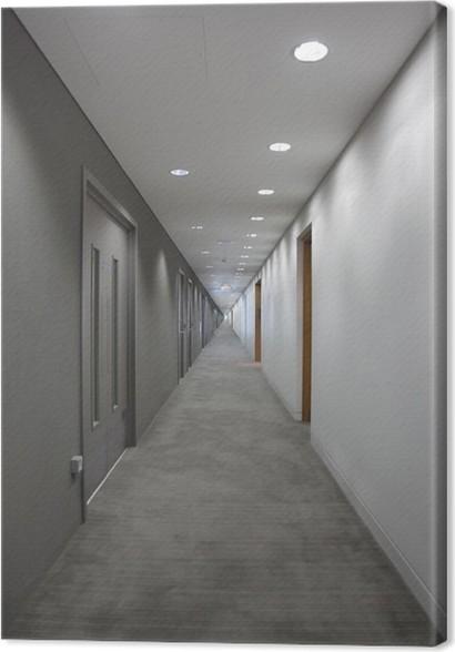 Tableau sur toile Couloir gris avec des portes. de la lumière à l ...