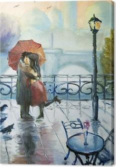Tableau sur toile Couple amoureux sous la pluie
