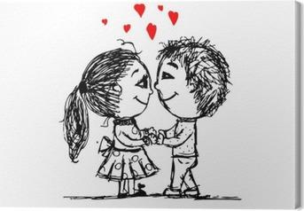 Tableau sur toile Couple dans l'amour ensemble, croquis de valentine pour votre conception