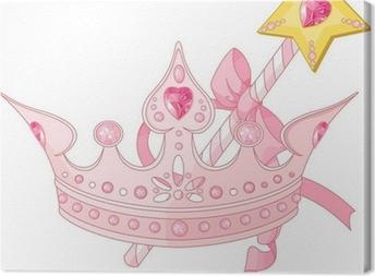 Tableau sur toile Couronne de princesse et baguette magique