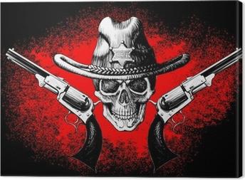 Tableau sur toile Crâne avec le revolver