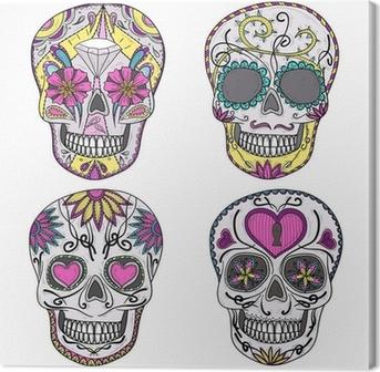 Tableau sur toile Crâne mexicain réglée. Crânes colorés avec des fleurs et coeur ornementation
