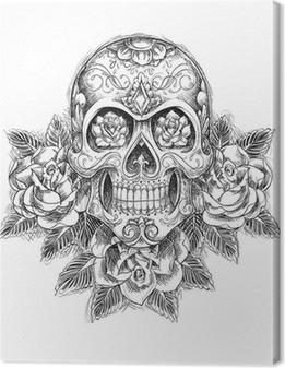 Tableau sur toile Crâne Sketchy avec des roses