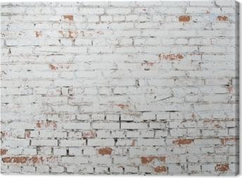 Tableau sur toile Craquage de fond mur de briques blanc grunge texture colorée vieux