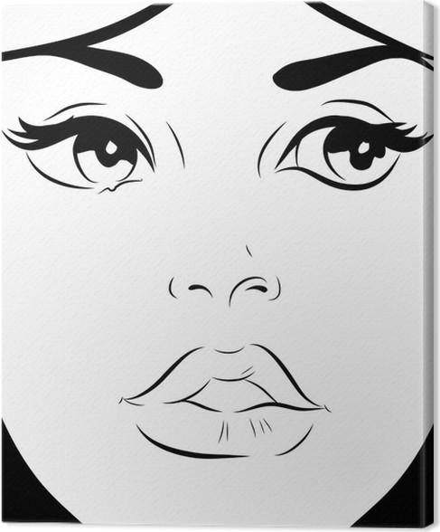 tableau sur toile croquis noir et blanc visage femme gros plan de pixers nous vivons pour. Black Bedroom Furniture Sets. Home Design Ideas