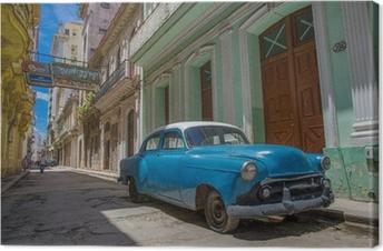 Tableau sur toile Cuba voiture bleue