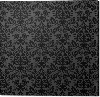 Tableau sur toile Damassé noire motif floral vintage