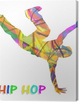 Tableau sur toile Danseur composée de couleurs qui dansent le hip-hop