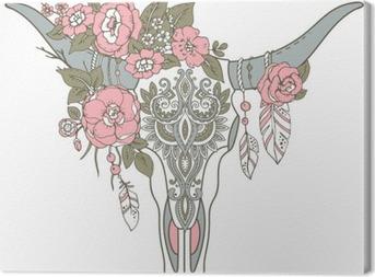 Tableau sur toile Decorative crâne de taureau indien avec ornement ethniques, des fleurs et l