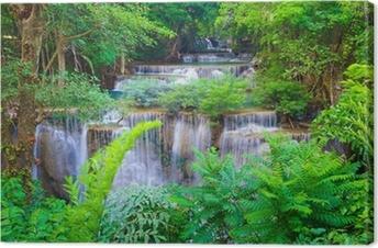 Tableau sur toile Deep forest Waterfall à Kanchanaburi, Thaïlande