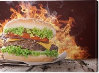Tableau sur toile Délicieux hamburger sur bois