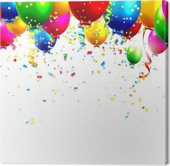 Tableau sur toile Des ballons et des confettis colorés d'anniversaire - vecteur de fond