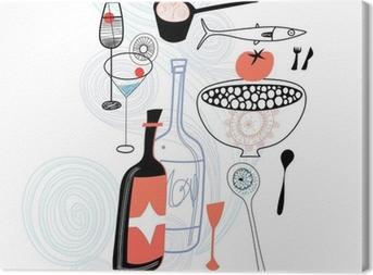 Tableau sur toile Des boissons et des produits alimentaires