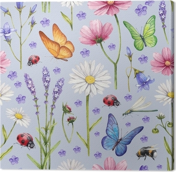 Tableau sur toile Des fleurs et des insectes sauvages illustration. modèle d'été d'aquarelle