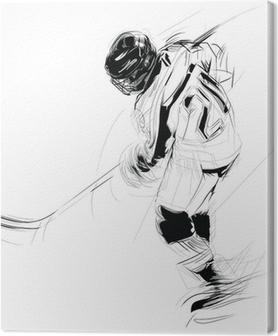Tableau sur toile Dessin à l'encre illustration d'un joueur de la glace suçon