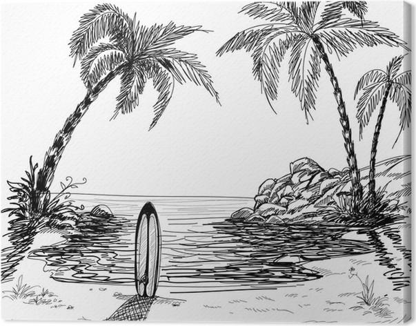 tableau sur toile dessin de paysage marin avec des palmiers et planche de surf pixers nous. Black Bedroom Furniture Sets. Home Design Ideas