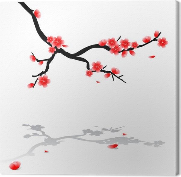 tableau sur toile dessin japonais de cerisier pixers nous vivons pour changer. Black Bedroom Furniture Sets. Home Design Ideas