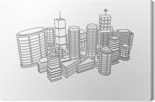 tableau sur toile dessin ville architecture 3d noir et blanc pixers nous vivons pour changer. Black Bedroom Furniture Sets. Home Design Ideas