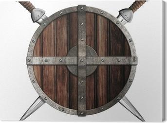 Tableau sur toile Deux épées derrière bouclier rond en bois isolé