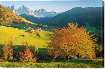 Tableau sur toile Dolomites Alpes, Val di Funes, paysage d'automne