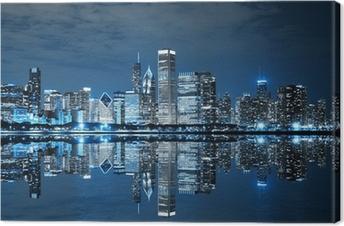 Tableau sur toile Downtown Chicago la nuit
