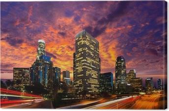 Tableau sur toile Downtown LA nuit Los Angeles horizon coucher de soleil en Californie