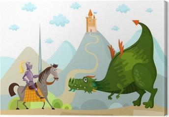 Tableau sur toile Dragon et chevalier
